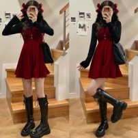 Dress Spring 2021 Black background, red vest and skirt Average size Middle-skirt Two piece set commute Crew neck High waist Solid color Socket other other Breast wrapping 18-24 years old Type A Korean version 51% (inclusive) - 70% (inclusive) other