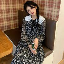 Dress Spring 2021 black S,M,L Mid length dress singleton  Long sleeves commute Crew neck High waist Decor 18-24 years old Type A Retro 51% (inclusive) - 70% (inclusive) Chiffon