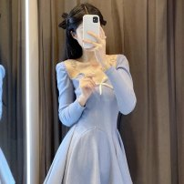 Dress Spring 2021 Picture color Average size Middle-skirt Long sleeves commute V-neck High waist Solid color Socket other other Breast wrapping 18-24 years old Type H Korean version 51% (inclusive) - 70% (inclusive) cotton