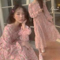 Dress Summer 2020 Pink Average size Mid length dress Long sleeves commute Crew neck High waist Decor Socket other other Breast wrapping 18-24 years old Korean version 31% (inclusive) - 50% (inclusive) Chiffon