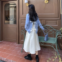 Dress Winter 2020 Beige skirt, blue sweater, black sweater S. M, l, average size Miniskirt singleton  Long sleeves commute Crew neck High waist Socket other 18-24 years old Type A Korean version 51% (inclusive) - 70% (inclusive) cotton