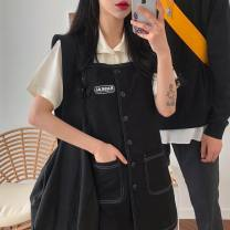 Fashion suit Summer of 2019 S, M Shirt short sleeve, strap skirt 18-25 years old Other / other 51% (inclusive) - 70% (inclusive) cotton