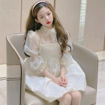 Fashion suit Summer 2021 S, M Baby collar shirt, suspender skirt 18-25 years old 96% and above cotton