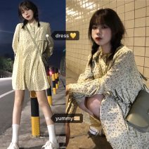 Dress Autumn 2020 Picture color Average size Middle-skirt singleton  Long sleeves square neck High waist Socket other other 18-24 years old Type A 's back shadow 51% (inclusive) - 70% (inclusive) cotton
