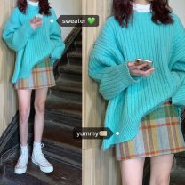 sweater Autumn 2020 Average size Lake green sweater, skirt s, Skirt M, skirt L Long sleeves Socket Regular other 31% (inclusive) - 50% (inclusive) Crew neck thickening commute routine Solid color Coarse wool Keep warm and warm 18-24 years old A115