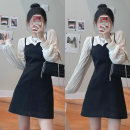 Dress Spring 2021 Black suspender skirt s, black suspender skirt m, black suspender skirt L, milk apricot Chiffon bottom Average size Short skirt Two piece set Long sleeves commute square neck High waist Solid color A-line skirt other camisole 18-24 years old Type A Korean version Wool