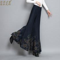 Casual pants Blue q6825 black q6825 28 29 30 31 32 33 Winter of 2019 trousers Wide leg pants High waist Versatile Q6825 Qslz / qingshuiling seed printing and dyeing Polyester fiber 93.9% polyurethane elastic fiber (spandex) 6.1%