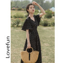 Dress Summer 2021 black S,M,L Mid length dress singleton  Short sleeve commute V-neck High waist Dot zipper Big swing Lotus leaf sleeve Type A literature
