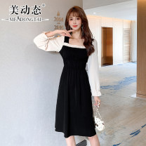 Women's large Spring 2021 black L XL 2XL 3XL 4XL Dress singleton  commute easy moderate Socket Long sleeves Solid color Korean version square neck Three dimensional cutting pagoda sleeve Beauty trends 25-29 years old Three dimensional decoration Medium length Polyester 100%