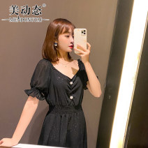 Women's large Summer 2021 black L XL 2XL 3XL 4XL Dress singleton  commute easy moderate Socket Short sleeve Solid color Korean version V-neck Three dimensional cutting routine Beauty trends 25-29 years old Three dimensional decoration 96% and above Middle-skirt Polyester 100%