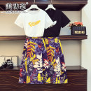 Women's large Summer 2021 Black and white L XL 2XL 3XL 4XL Other oversize styles Two piece set commute easy moderate Socket Short sleeve Decor Korean version Crew neck routine cotton Three dimensional cutting routine 212113108AB Beauty trends 25-29 years old Three dimensional decoration Medium length