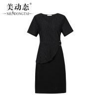 Women's large Summer 2021 black L XL 2XL 3XL 4XL 5XL Dress singleton  commute easy moderate Socket Short sleeve stripe Korean version V-neck Three dimensional cutting routine Beauty trends 25-29 years old zipper 51% (inclusive) - 70% (inclusive) Medium length Pure e-commerce (online only)