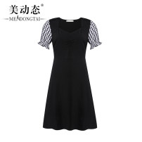 Women's large Summer 2021 black L XL 2XL 3XL 4XL 5XL Dress singleton  commute easy moderate Socket Short sleeve Solid color Korean version V-neck Three dimensional cutting routine Beauty trends 25-29 years old Three dimensional decoration 51% (inclusive) - 70% (inclusive) Medium length