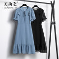 Women's large Summer 2021 Black blue L XL 2XL 3XL 4XL 5XL Dress singleton  commute easy moderate Socket Short sleeve Solid color Korean version Crew neck Three dimensional cutting routine Beauty trends 25-29 years old Three dimensional decoration 96% and above Medium length Polyester 100%
