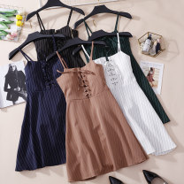 Dress Summer 2020 White, black, khaki, green, blue M, L Short skirt singleton  Sleeveless commute One word collar High waist stripe Socket A-line skirt routine camisole 18-24 years old Type A CSNRG409490 81% (inclusive) - 90% (inclusive) other