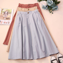 skirt Autumn 2020 Average size White, black, apricot, green, blue, brick red Mid length dress commute High waist A-line skirt Solid color Type A 18-24 years old CSNRG5589 51% (inclusive) - 70% (inclusive) other Pocket, button, zipper Korean version