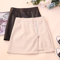 skirt Autumn 2020 S,M,L,XL Black, apricot, purple Short skirt commute High waist A-line skirt Solid color Type A 18-24 years old CSNRG5682 other PU zipper Korean version