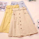 skirt Autumn 2020 Average size White, black, apricot, yellow, green, blue, pink Mid length dress commute High waist A-line skirt Solid color Type A 18-24 years old CSNRG5689 51% (inclusive) - 70% (inclusive) other Pockets, straps, buttons