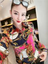 Lace / Chiffon Autumn of 2019 Yj829 pink flower M,L,XL,2XL,3XL,4XL Long sleeves commute Socket singleton  Self cultivation Regular Polo collar Decor shirt sleeve Button Korean version