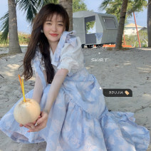 Dress Summer 2021 White shirt, blue suspender skirt S. M, l, average size Middle-skirt singleton  Sleeveless commute other High waist Socket other other Others 18-24 years old Type A Korean version 1012# 30% and below polyester fiber