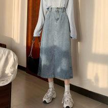 skirt Autumn 2020 S,M,L,XL blue Mid length dress commute High waist Denim skirt Type A 18-24 years old Denim Korean version