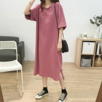 Nursing clothes Solid long bean paste red, solid long orange, pocket long bean paste red, solid long gray blue, solid long bean paste green, pocket long black M,L,XL,2XL Other / other Socket summer Short sleeve have more cash than can be accounted for leisure time Dress letter cotton