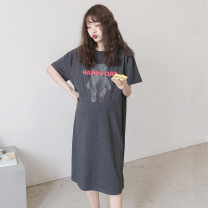 Dress Other / other dark grey Average size leisure time Short sleeve have more cash than can be accounted for summer Crew neck letter []