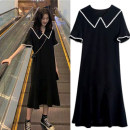 Dress Other / other black M. L, XL, XXL, XXXL, increase XXXL Versatile Short sleeve have more cash than can be accounted for summer Lapel Solid color Pure cotton (95% and above)