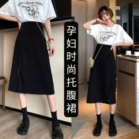 skirt skirt Medium length Versatile M,L,XL,XXL summer other Apricot, black other 5516-1 Chiffon