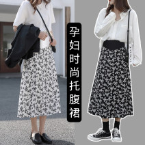 skirt skirt Medium length leisure time M,L,XL summer other White, black Decor Chiffon