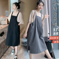Dress Other / other Grey skirt + Cotton T, black skirt + Cotton T M,L,XL,XXL Korean version Short sleeve Medium length summer Crew neck Solid color Pure cotton (95% and above)