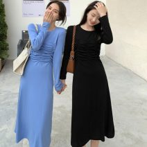 Dress Spring 2021 Blue, black Average size Mid length dress singleton  Long sleeves commute Crew neck High waist Solid color Socket A-line skirt routine Others 18-24 years old Type A Other / other Korean version Three dimensional decoration 117K 31% (inclusive) - 50% (inclusive) other cotton