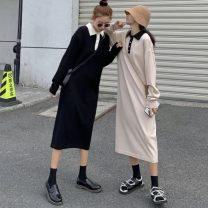 Dress Spring 2021 Apricot, black Average size Mid length dress singleton  Long sleeves commute Polo collar Loose waist Solid color Socket other routine Others 18-24 years old Type H Other / other Korean version bow 117K 51% (inclusive) - 70% (inclusive) knitting other