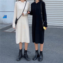 Dress Spring 2021 Apricot, black Average size Mid length dress singleton  Long sleeves commute Polo collar High waist Solid color Socket Princess Dress raglan sleeve Others 18-24 years old Type H Other / other Korean version bow 118K 31% (inclusive) - 50% (inclusive) organza  acrylic fibres