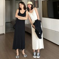 Dress Spring 2021 Apricot, black Average size Mid length dress singleton  Sleeveless commute Crew neck High waist Solid color Socket A-line skirt other Others 18-24 years old Type A Other / other Korean version Hand abrasion 124K 31% (inclusive) - 50% (inclusive) knitting acrylic fibres