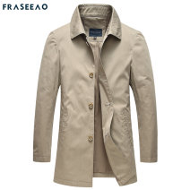 Windbreaker Khaki blue Asao / free Fashion City 170/M 175/L 180XL 185/2XL 190/3XL Single breasted Medium length standard Other leisure summer youth Lapel Business Casual FRJX21AFY1798 Cotton 100% Solid color washing Side seam pocket Khaki Multiple pockets cotton Spring 2021 Exclusive payment of tmall