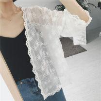 Lace / Chiffon Summer of 2019 white Average size Long sleeves Versatile Cardigan easy Regular Vee miny Other 100%