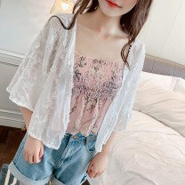 Lace / Chiffon Summer 2020 White apricot Pink Average size Long sleeves Versatile easy have cash less than that is registered in the accounts V-neck Solid color pagoda sleeve Vee miny Lace Other 100%