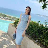 Dress Spring 2021 Water blue, electric blue XS,S,M,L Mid length dress singleton  Sleeveless commute One word collar Solid color Type X Korean version L5747 More than 95% polyester fiber
