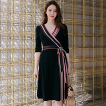 Dress Spring 2021 Black Purple S suggests 85-100kg, m suggests 100-110kg, l suggests 110-120kg, XL suggests 120-130kg, XXL suggests 130-140kg Middle-skirt singleton  three quarter sleeve commute V-neck High waist Solid color other One pace skirt routine 25-29 years old Type H Korean version Bow, tie