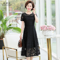 Dress Summer 2020 Black short sleeve blue short sleeve red short sleeve BLACK LONG SLEEVE BLUE LONG SLEEVE red long sleeve XL XXL 3XL 4XL 5XL Mid length dress singleton  Short sleeve commute Crew neck High waist Solid color zipper A-line skirt routine Breast wrapping 40-49 years old Type A Kanglibo