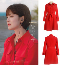 shirt gules S,M,L Autumn of 2018 polyester fiber 51% (inclusive) - 70% (inclusive) Long sleeves Sweet Medium length square neck Single row multi button routine Solid color 25-29 years old Self cultivation sm11175 Countryside