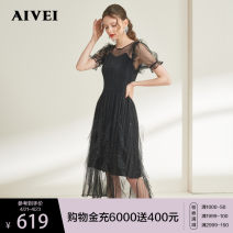 Dress Summer 2020 black S M L longuette singleton  Short sleeve commute Crew neck High waist Solid color Pleated skirt puff sleeve 25-29 years old AIVEI lady Splicing More than 95% polyester fiber Polyester 100% Same model in shopping mall (sold online and offline)