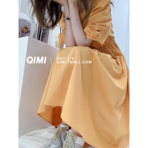 Dress Summer 2021 M L Mid length dress Short sleeve Sweet Crew neck High waist bishop sleeve 25-29 years old Type A Qimi 31% (inclusive) - 50% (inclusive) polyester fiber Polyester 50% Cotton 30% viscose (viscose) 20% princess Pure e-commerce (online only)