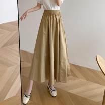 skirt Summer 2021 S,M,L,XL,2XL,3XL Khaki, army green, black Mid length dress Versatile High waist A-line skirt Solid color