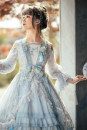 Dress Summer of 2019 Gold, sky blue S,M,L,XL,2XL Mid length dress singleton  Long sleeves Sweet V-neck middle-waisted Socket Ruffle Skirt pagoda sleeve Others 18-24 years old Type A Fantastic Wind Bowknot, ruffle, pleat, embroidery, pleat, Auricularia auricula, tridimensional decoration, lace Chiffon