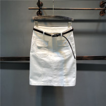 skirt Summer of 2019 S,M,L,XL White, black, khaki, lotus root Mid length dress Versatile High waist A-line skirt Solid color Type A Denim cotton Button, zipper