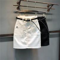 skirt Summer of 2019 26,27,28,29,30,31 White, black Mid length dress Versatile High waist A-line skirt Solid color Type A Denim cotton Pocket, button, zipper