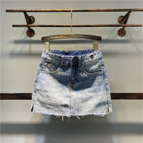 skirt Spring 2020 S,M,L,XL,2XL blue Short skirt Versatile High waist A-line skirt Solid color Type A Denim cotton Pocket, button, zipper