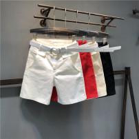 Jeans Summer of 2019 Red, black, off white, apricot S,M,L,XL,2XL Pant High waist Straight pants Thin money Wash, zipper, button, multi pocket Thin denim light colour